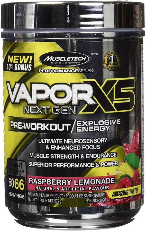 MuscleTech VaporX5 Pre Workout Raspberry Lemonade 66 Serve