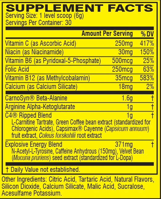 Nutritional Info: Cellucor C4 RIPPED, Explosive Pre-Workout and Cutting Formula, Ultra Frost flavour