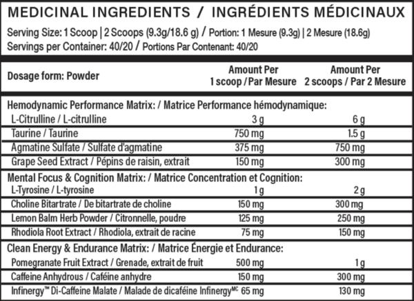 Nutritional Info: Vandal Pre-Workout Smarter Performance, Royal Lemonade Flavour