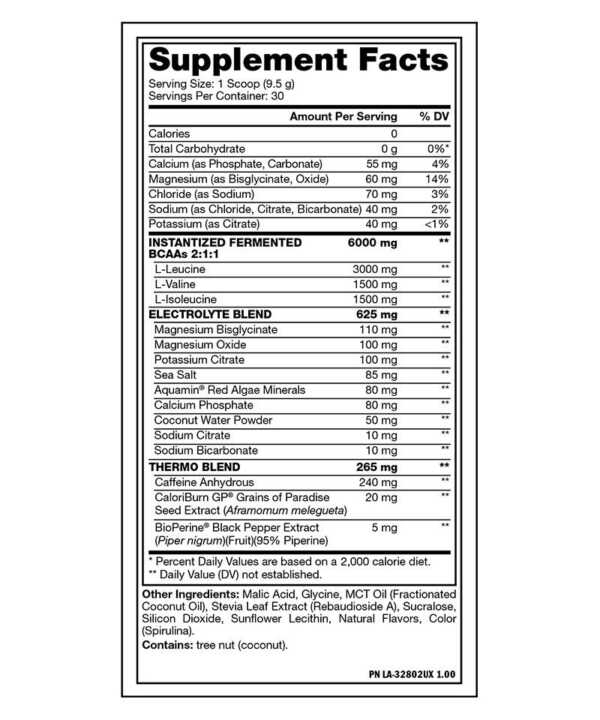 Mutant BCAA Thermo Nutrition Facts