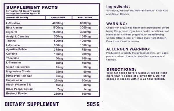 Ammunition Nitrofuel Pre-Workout Nutritional Facts
